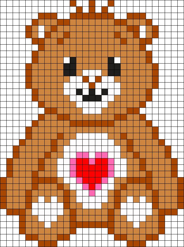 Care Bear Tenderheart Bear Perler Bead Pattern / Bead Sprite