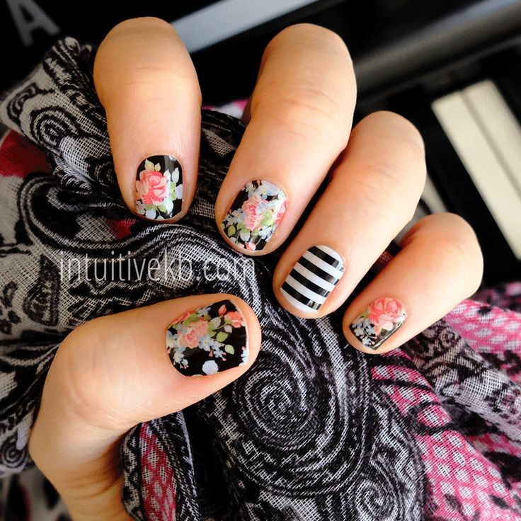 Jamberry Sweet Nothing with Black & White Stripe >> Buy 3, Get 1 Free at www.getstarted.jamberrynails.net