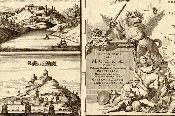 Antyczna mapa Grecji z 1688r - Stare mapy - Obrazy na płótnie -obrazy na ścianę