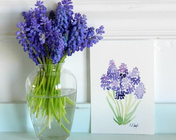 Purple Flowers Painting *High quality Fine Art GICLEE PRINT -Made from my original watercolor painting of a little purple grape hyacinth flowers, printed on 400gsm Textured Watercolor Paper. This paper is an archival, Ph-neutral, and OBA-free paper, made by Strathmore. -Measures