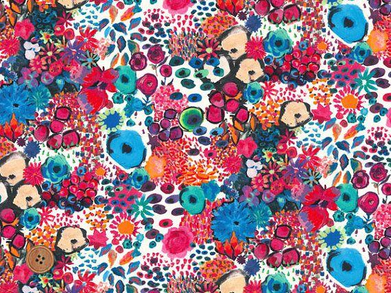 Liberty Tana Lawn Fabric, Liberty of London, Liberty Japan, Small Artist's Bloom, Cotton Print Scrap, Floral Quilt, Patchwork, JapanLovelyCrafts