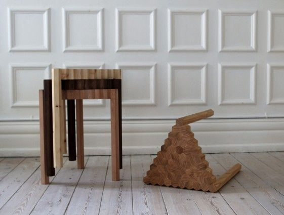 'Grain' is another example of Flensted Studio's design. A stackable stool that emphasises wood grain structures.