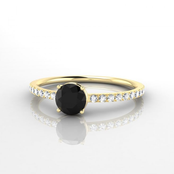 Bague diamant noir djula