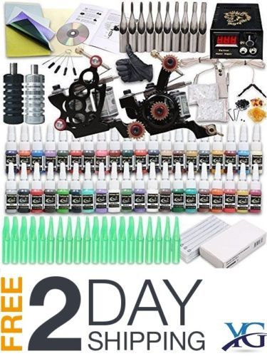 Tattoo-Kit-Professional-Complete-2-Machine-Gun-40-Color-Ink-Needle-Power-Supply