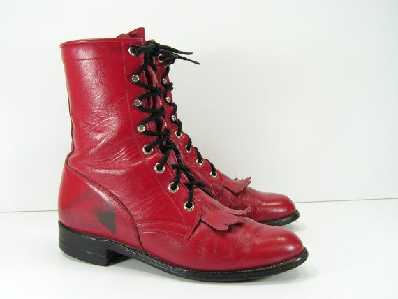red ankle cowboy boots womens 6 C wide  by vintagecowboyboots, $44.99