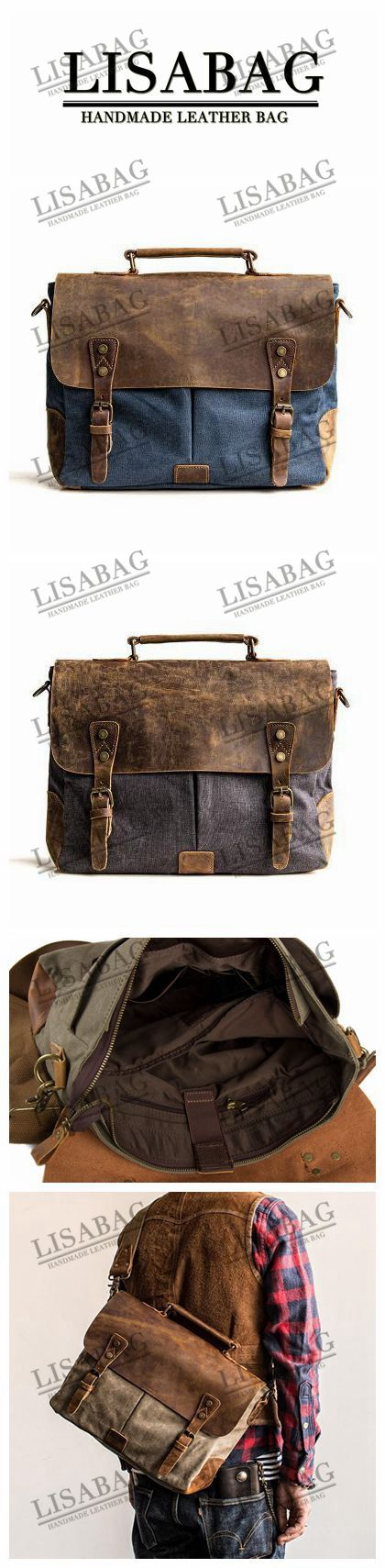 Handmade Dark Blue Waxed Canvas Leather Briefcase Messenger Bag 13'' Laptop Bag 1807