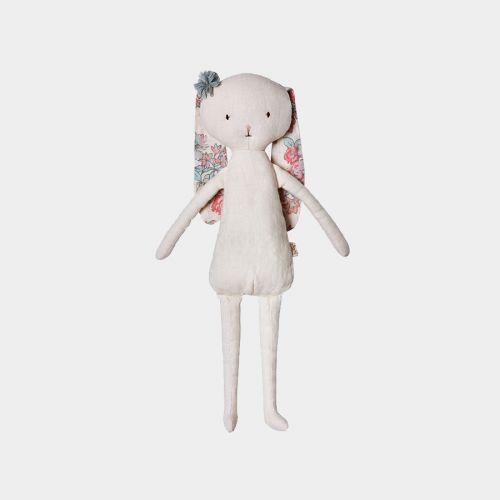 Doudou lapine tissu & fleurs sur Plumeti