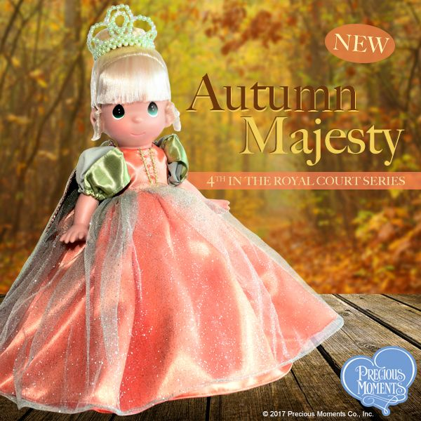 The 4th Edition in our exclusive 5-doll Precious Moments Royal Court series will inspire even the most seasoned Precious Moments doll collector with shimmering tulle and majestic Fall splendor! Add a royal touch to your doll collection today.  #PreciousMoments #LifesPreciousMoments #RoyalCourtSeries #TheDollMaker #LindaRick