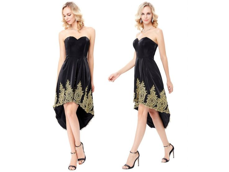 Černo-zlaté společenské šaty Grace Karin, SKLADEM - Bestmoda - black prom dress with golden embroidery