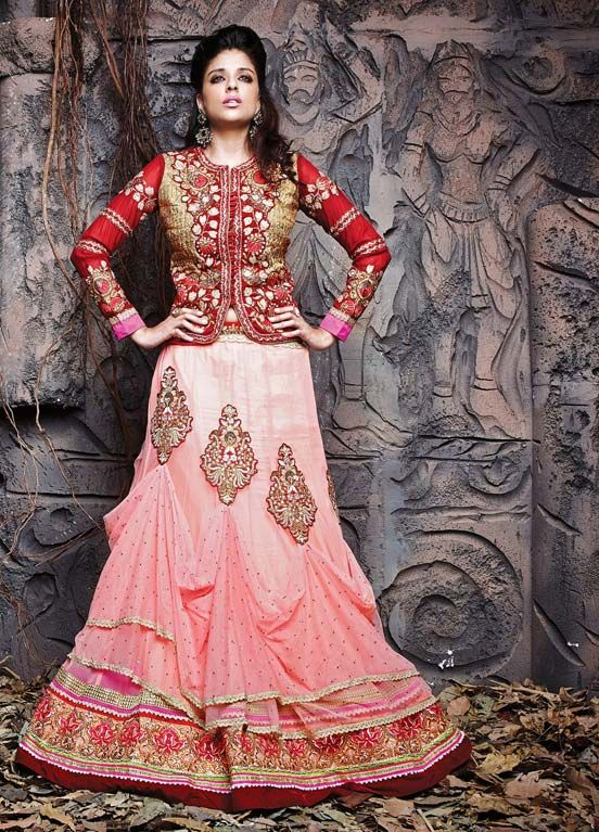 http://www.fabethnic.com/pink-and-red-jacket-style-wedding-lehenga-choli