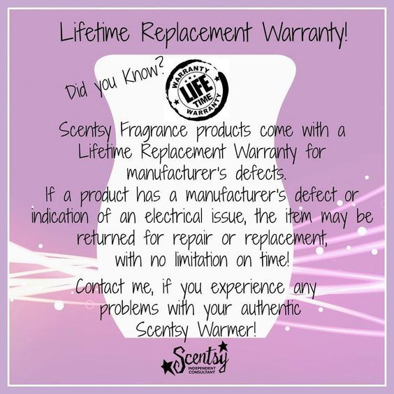 Did you know Scentsy offers a lifetime warranty on your warmers and diffusers!?  www.moriahvosberg.scentsy.us