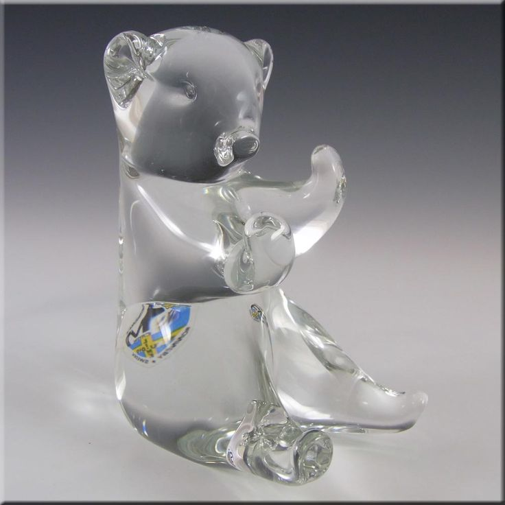 FM Konstglas/Ronneby Swedish Glass Bear - Signed + Label - £39.99