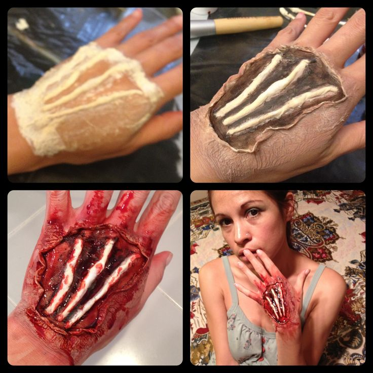 DIY Exposed Bloody Tendons Special FX Wound on hand MATERIALS: Liquid Latex, Cottonball, Tissue Paper, Colorless Powder, Injury Color Wheel, Concealer, Fake Blood Gel (Halloween, Zombie, Infected) Watch YouTube video step-by-step from fumsmusings