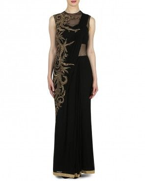 Black Saree Style Gown