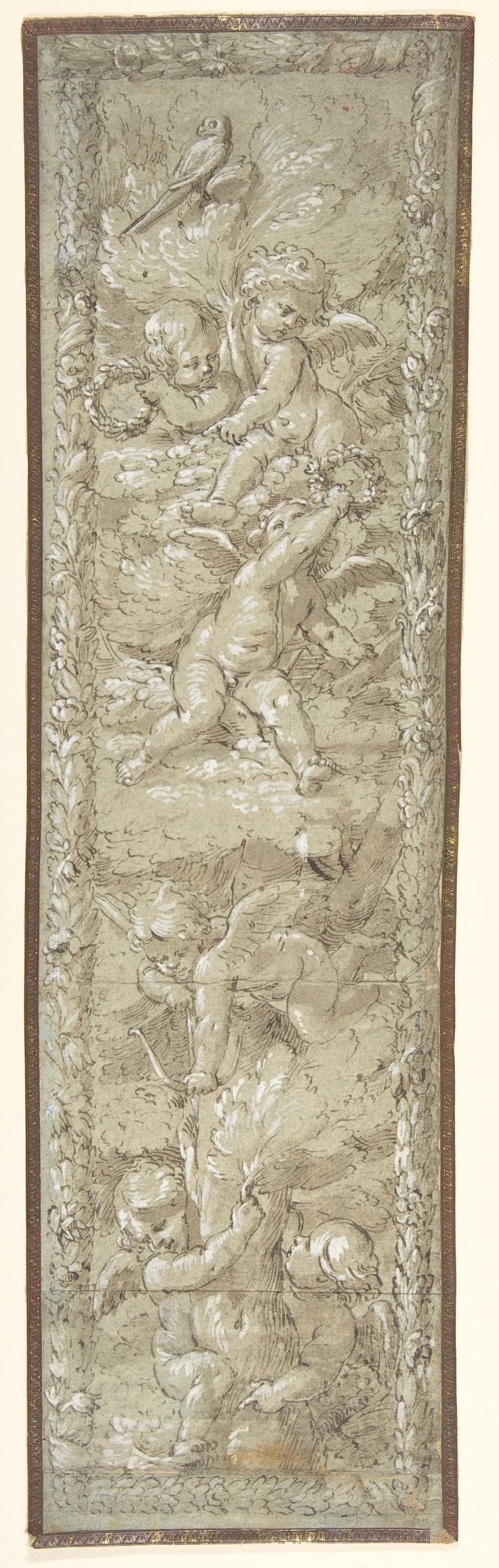 Anonymous, Italian, first half of the 18th century, Cherubs in a Tree, Pen and brown ink, brush and brown wash, 49.6 x 13.3cm