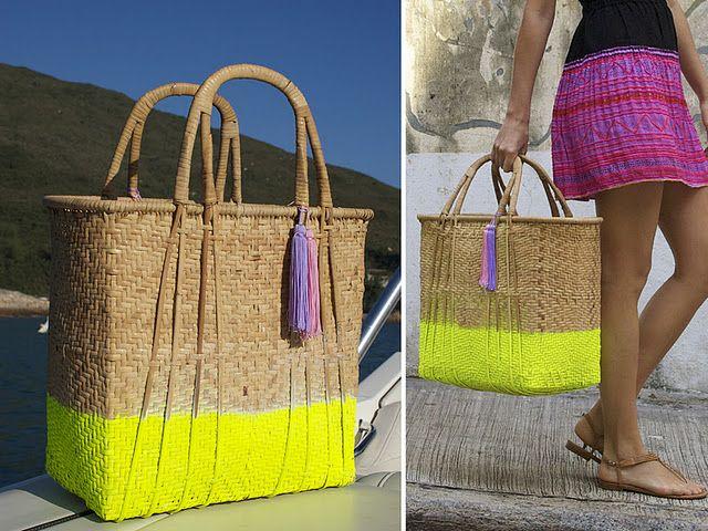 for summer: diy neon dip bag: Idea, Diy Neon, Neon Market, Diy'S, Diy Fashion, Beach Bags, Market Bag