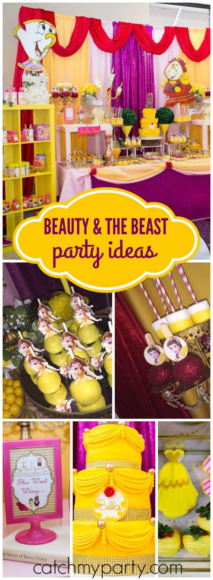 You have to see this beautiful Beauty and the Beast birthday! See more party ideas at Catchmyparty.com!