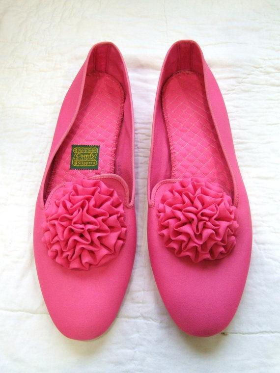 Vintage Floral Pink Slippers