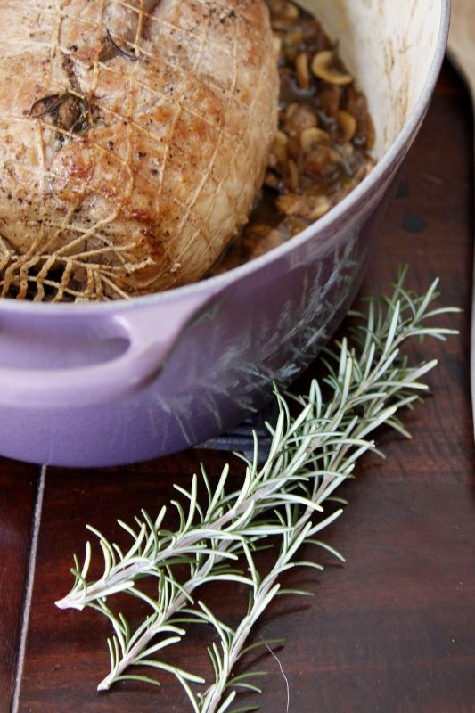 Braised Pork with Rosemary and Mushrooms by @Paula - bell'alimento plus a chance to win a Le Creuset Oval French Oven!