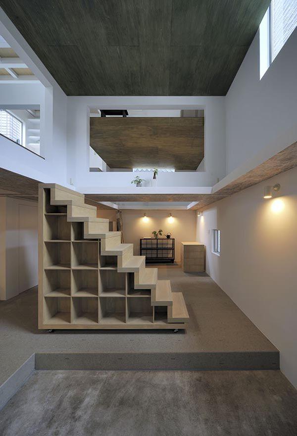 Storage steps in a residence and atelier designed by Hiroyuki Shinozaki Architects