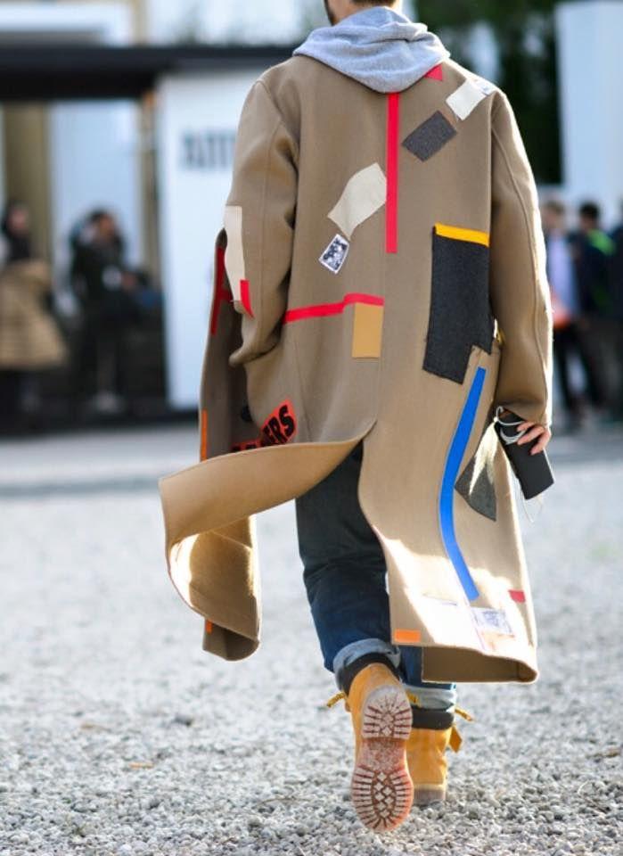 Raf Simons camel coat w/ timberland