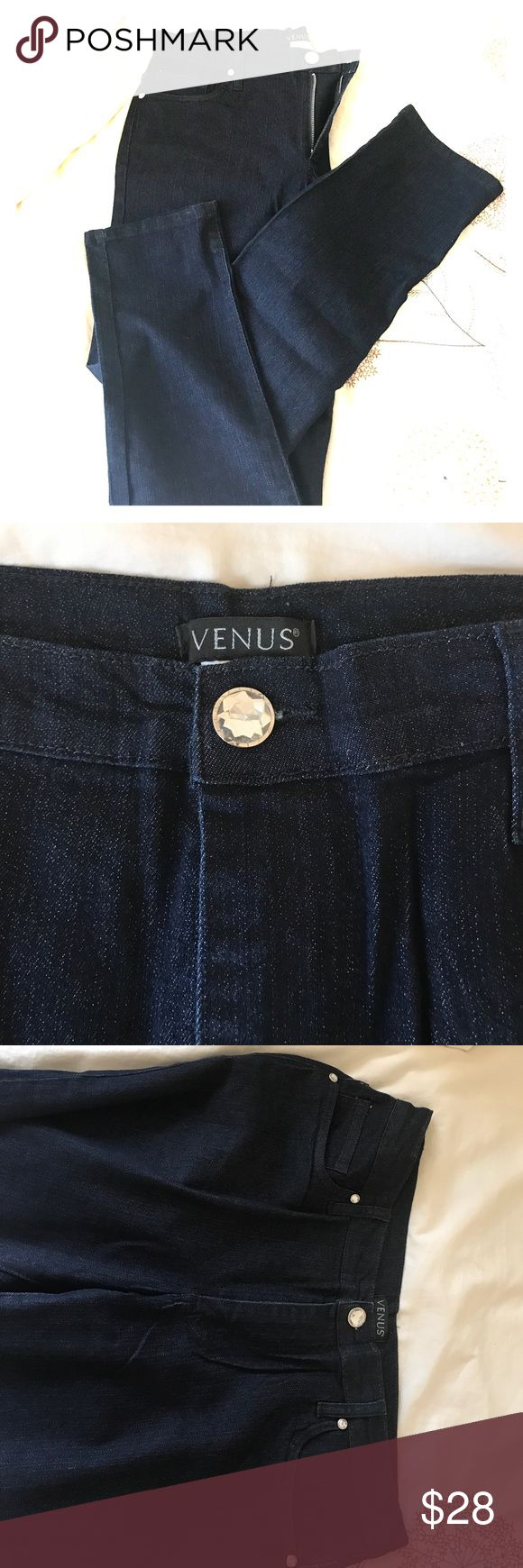 NWOT Extreme Dark Wash Stretch Jeans Extreme Dark Wash stretchy jeans, cute and comfy with faux crystal closure and ankle taper! Venus Jeans Ankle & Cropped