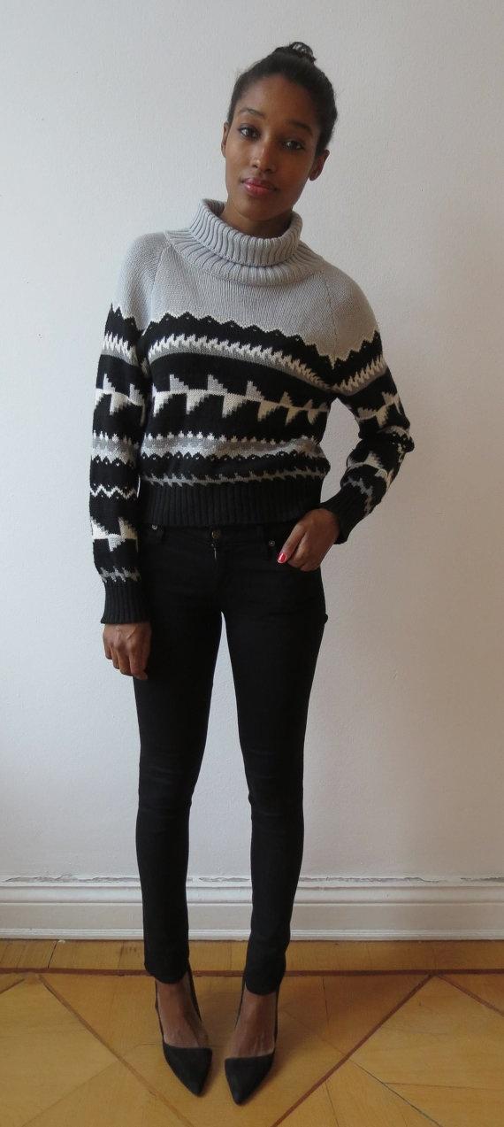 Black Grey and White Icelandic Sweater by singlegreenfemale, New!