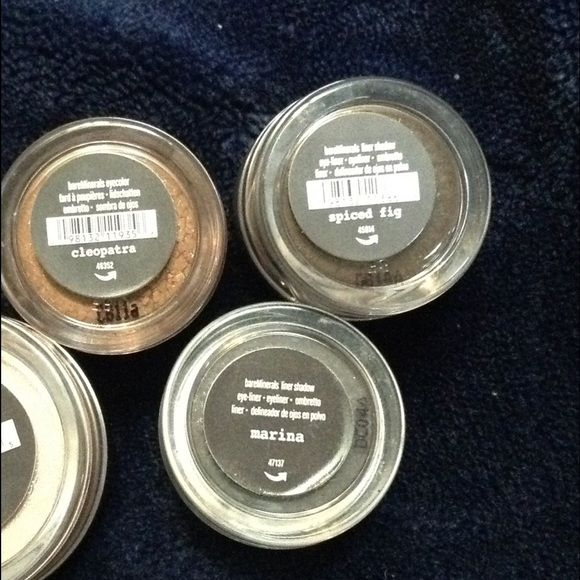 Lot of Three Bare Minerals Eyeshadow Lot of three BareMinerals eyeshadows. Colors are: Marina (small), Spiced Fig (small) and Cleopatra (small). All new and unopened. bareMinerals Makeup Eyeshadow