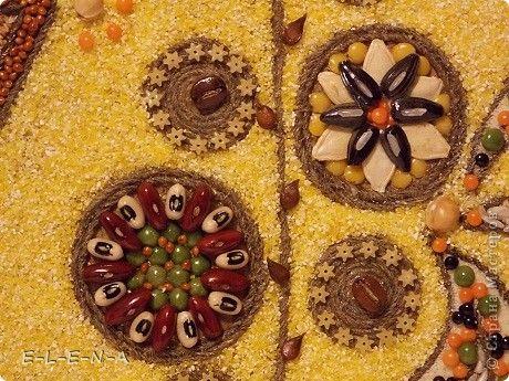 Картина панно рисунок Кухонное панно Крупа Семена Скорлупа яичная Шпагат фото 13