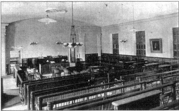 Photograph of the courtroom at the New Bedford Superior Court where the Lizzie Borden trial was held in June of 1893.