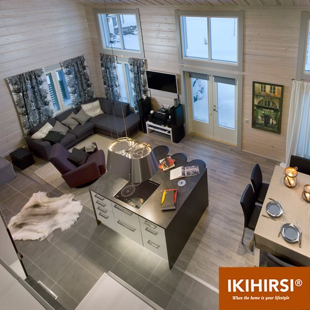 Вид сверху на гостиную. Модель H2-154 #деревянныйдом из клееного бруса #Ikihirsi