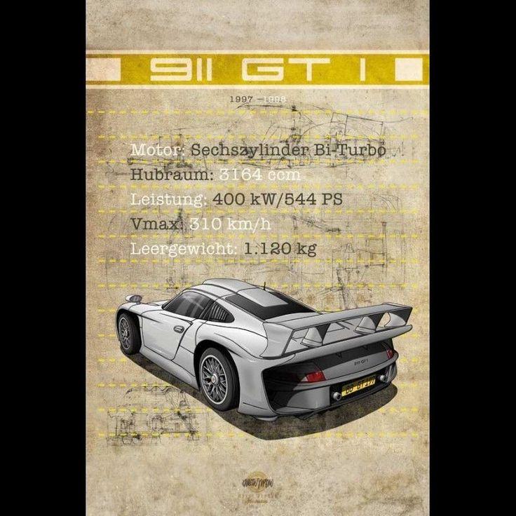 Affiche Porsche 911 GT1 imprimée sur plaque Aluminium Dibond 40 x 60 cm Helge Je • EUR 49,90 - PicClick FR