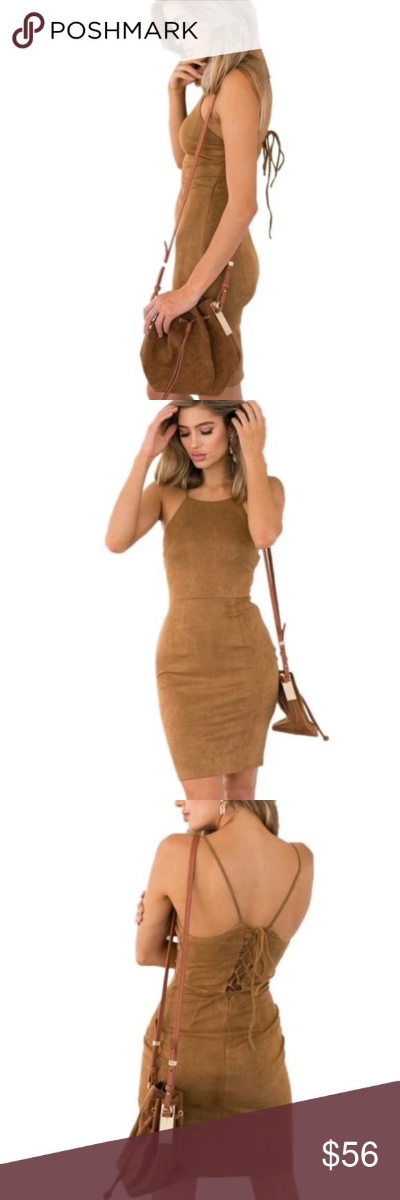 "Sexy shade bodycon dress ❤ Super cute and flirty camel Bodycon dress. Made out of acrylic and spandex materials (so it does have some stretch to it). It ties up from the back, spaghetti strap and it lands above the knee depending on ones height and body type. MEASUREMENTS: LENGTH: 29"" BUST:34"" ☺️ Dorimas Closet Dresses Midi"