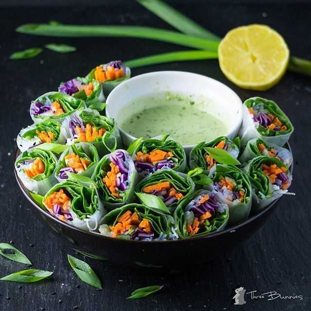 Veggie Rice Wraps with Creamy Cashew Basil Sauce