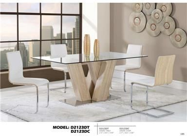 Series Contemporary White MDF Glass Dining Table White   By Global  Furniture.