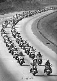 The Motorcycle Cop 'Fleet' formation to escort Elvis to his last resting place