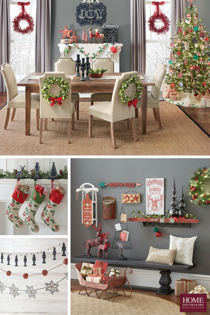 Holiday dining comes to life with all the right décor. Your guests will enjoy coming over for dinner when they get to dine surrounded by merry décor, like this red and green combination. Hang wreaths on the back of your dining chairs for an easy update. Be sure to pull in some fun wall art, garland and stockings. Oh yeah, and don't forget the Christmas tree! Find the right holiday decor for your home. Available at Home Decorators Collection.