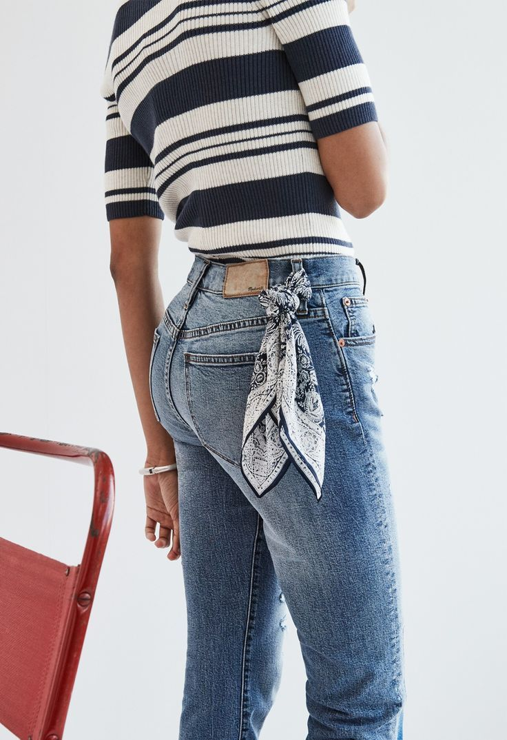 madewell cruiser straight crop jeans worn with the ribbed sweater top + silk bandana.