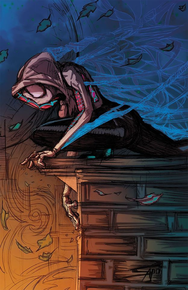 Spider Gwen Fan Art Spider Gwen Roof Top Colors By