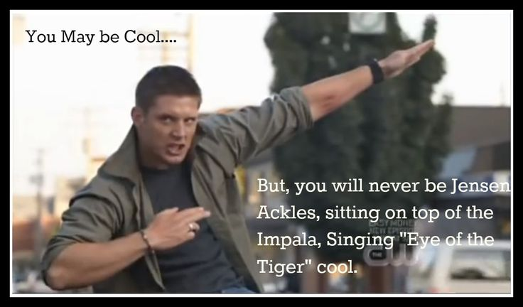 """You may be cool... but you will never be Jensen Ackles, sitting on top of the Impala, singing """"Eye of the Tiger"""" cool."""