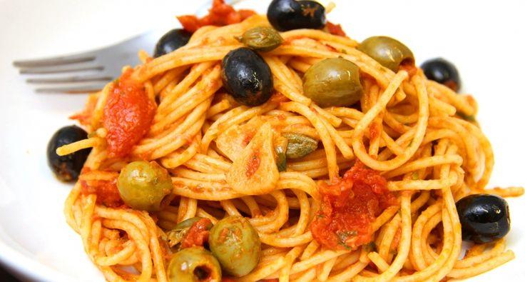 Olívás-szardellás spagetti recept