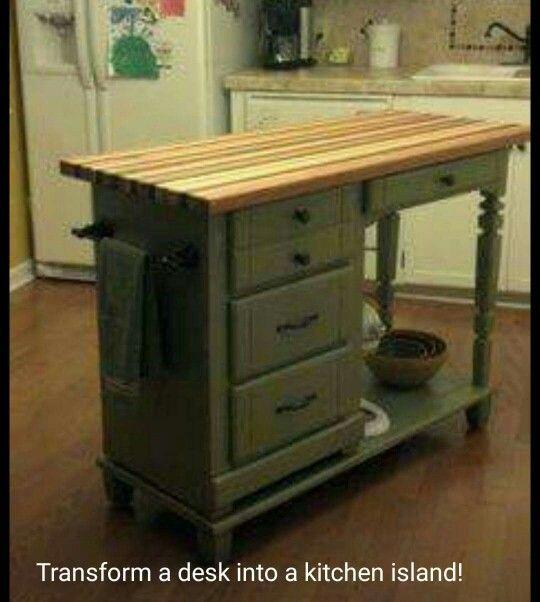 Transform A Desk Into A Kitchen Island!