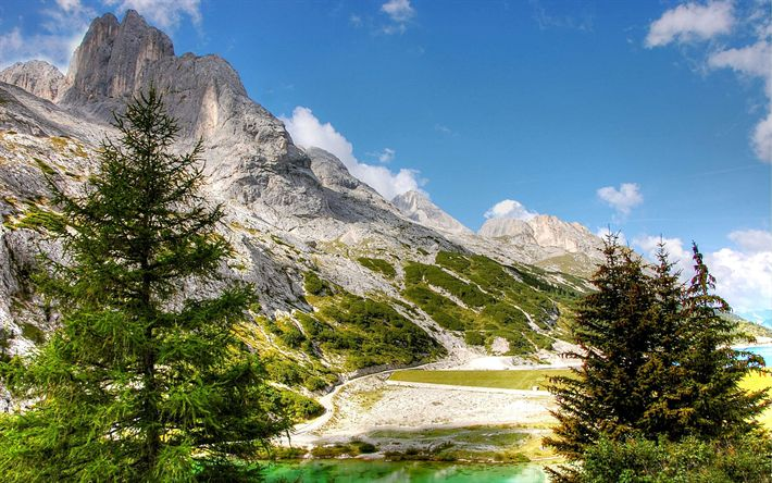 Download wallpapers Italy, Alps, summer, mountains, lake, forest, Europe