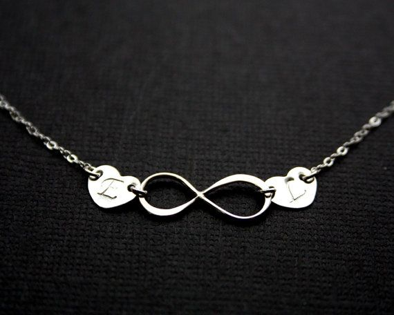 Infinity Necklace . Personalized  Charm Necklace . Sterling Silver Initial Necklace . Custom Letter.His and Her Initials.Love.Couple.Sisters...