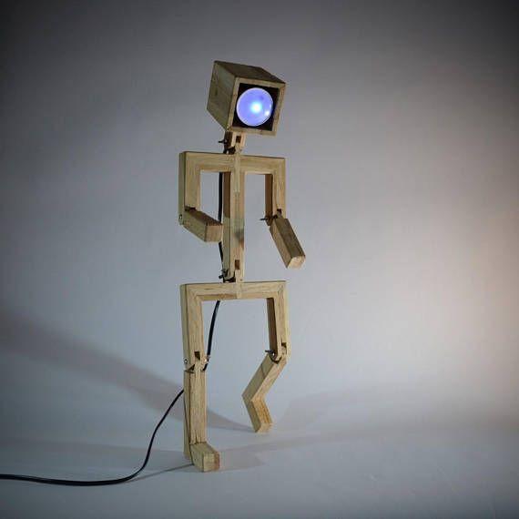 Diseño de muñeco de nieve lámpara articulada en madera de