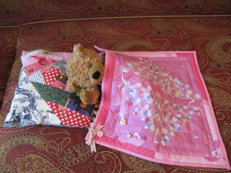 Toy's patchwork pillowcase and blanket.