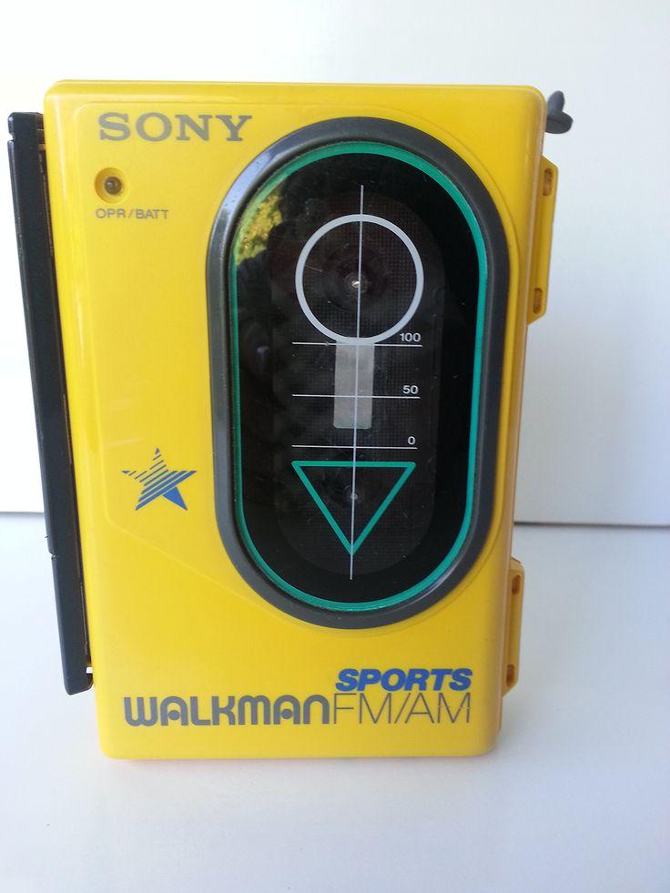 SONY Sports WALKMAN FM/AM/Cassette WM-F45 ~ Yellow ~ Water Resistant
