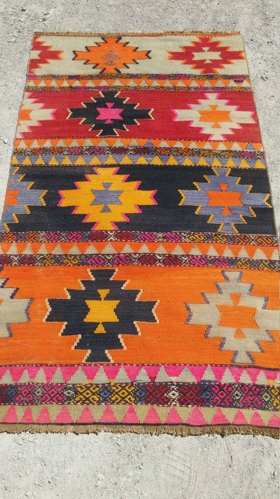 turkish overdyed kilim rug work is kilim by ANATOLIANVintageRUG