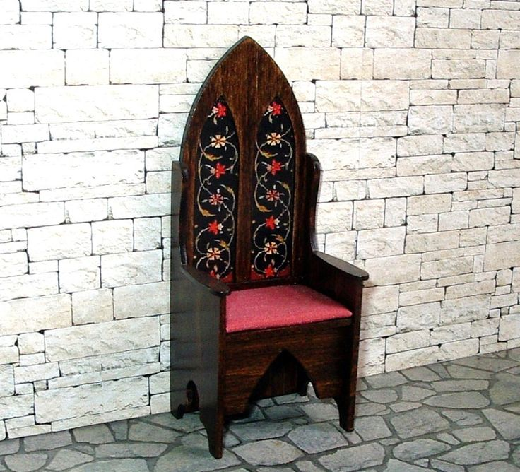 Gothic Chair, Floral Decorated Chair, Medieval Dollhouse Miniature, 1/12 Scale, Hand Made by CalicoJewels on Etsy https://www.etsy.com/listing/287272429/gothic-chair-floral-decorated-chair