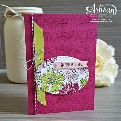 Paula Dobson - Stampinantics.  CASEing the Stampin' Up! catalogue and featuring Touches of Texture and Marquee Messages.  Click on the picture to see more of Paula's work.  #pauladobson #stampinantics #marqueemessagesstampset #touchesoftexturestampset